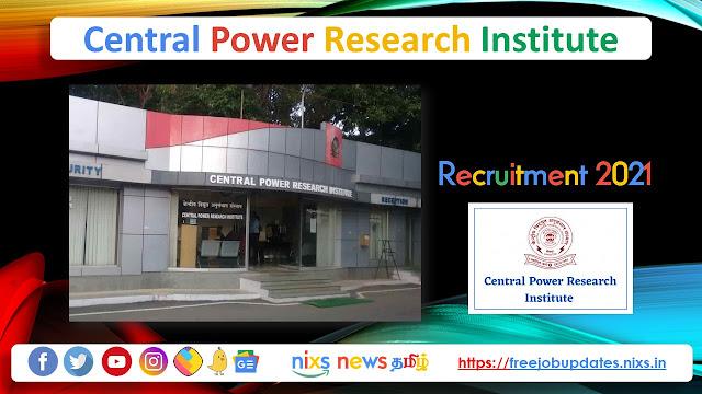 CPRI Recruitment 2021, Central Power Research Institute Recruitment 2021, CPRI Jobs, CPRI jobs 2021