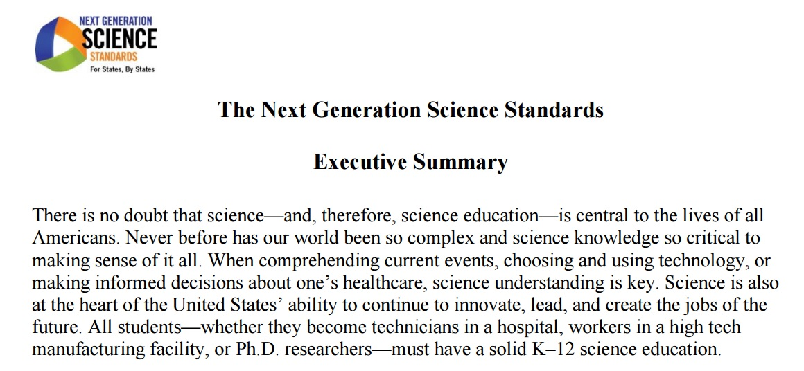 Science Teacher: The NGSS Executive Summary As A CCSS