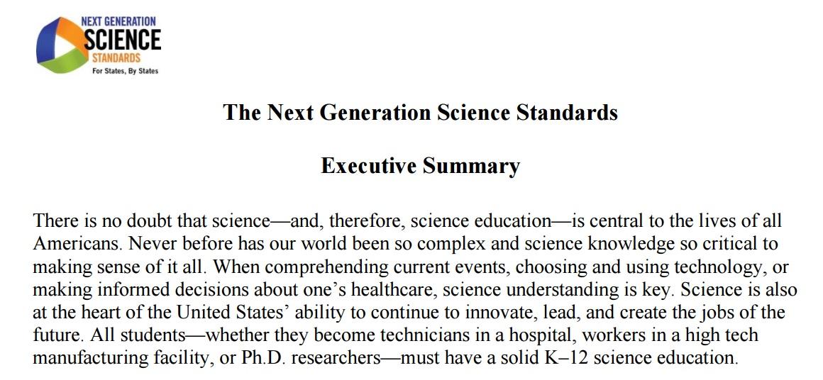 Science teacher The NGSS Executive Summary as a CCSS exemplar text