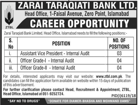 Jobs In Zarai Taraqiati Bank Limited June 2019