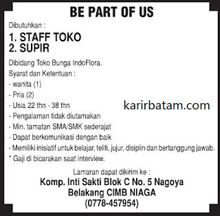 Lowongan Kerja Staff Toko dan Sopir