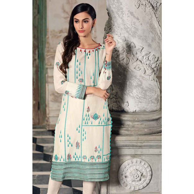 Gul Ahmed off white color luxury suit Eid collection