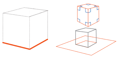 The bottom edges should be drawn to show a box sitting on a flat surface.