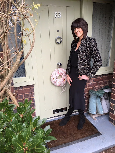 My Midlife Fashion, Boucle Zara Jacket, Flared midi skirt, schuh dash over the knee boots, camisole
