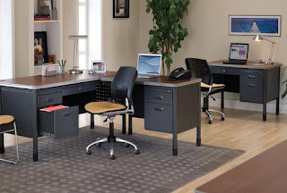 Industrial Office Interior with Metal Desks