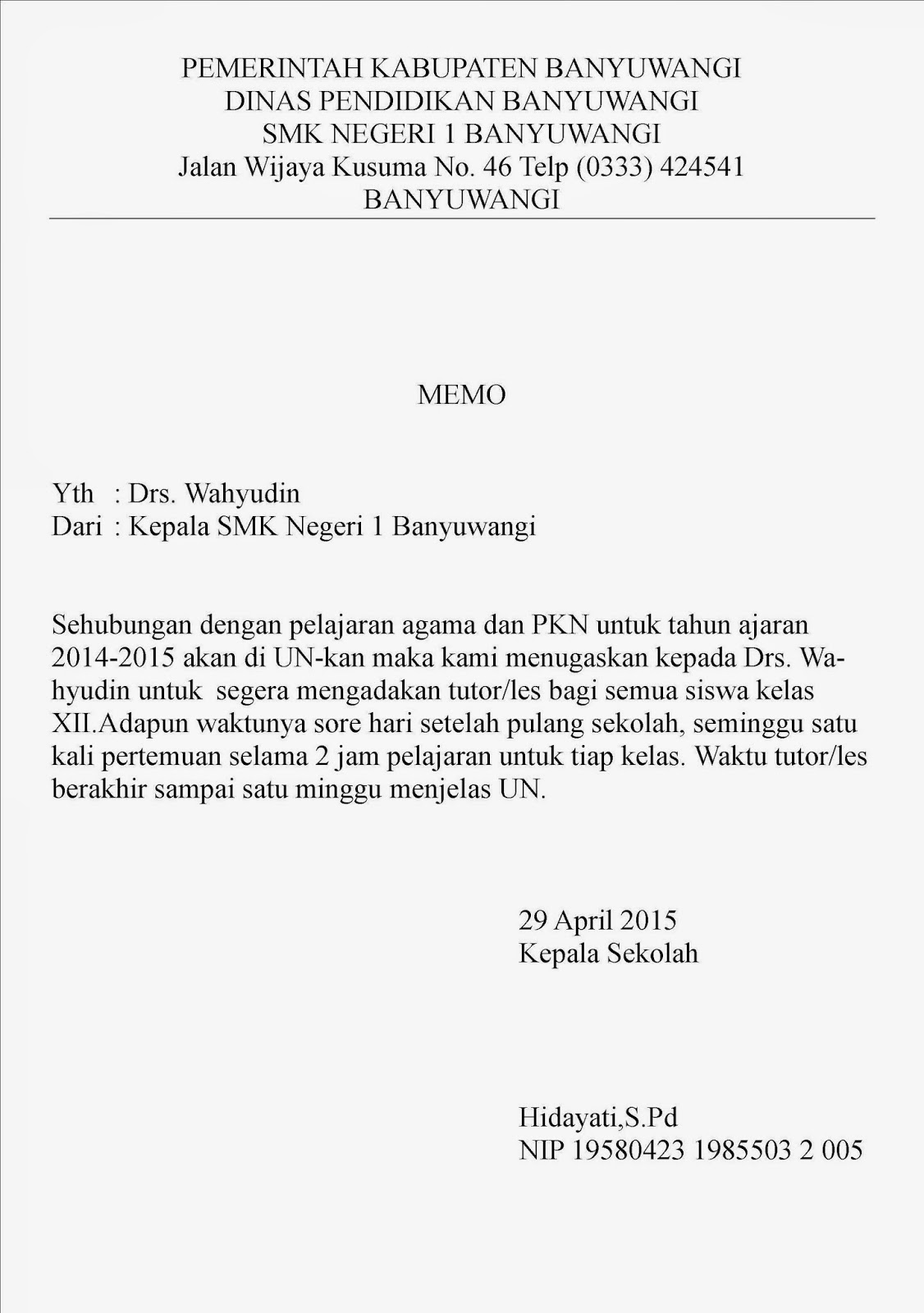Contoh Surat Memorandum Dan Nota Dinas