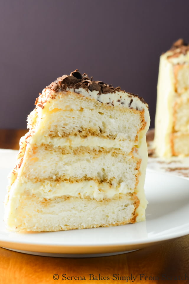 Tiramisu Cake is Angel Food Cake filled with mascarpone filling for a gorgeous dessert recipe! Tiramisu Angel Food Cake from Serena Bakes Simply From Scratch is a stunning dessert!