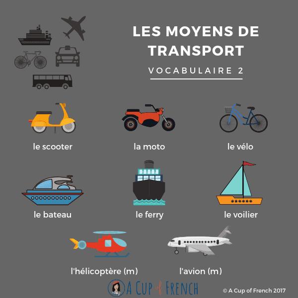 Środki transportu - słownictwo 9 - Francuski przy kawie