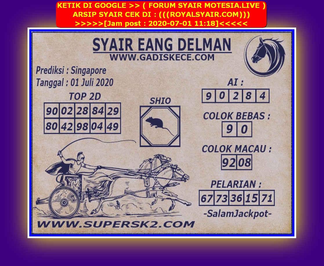 Kode syair Singapore Rabu 1 Juli 2020 120