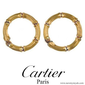 Queen Maxima wore Cartier Gold Bamboo earrings