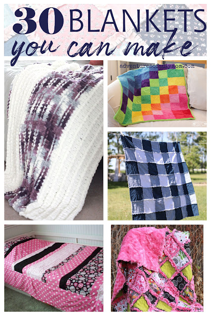 collage of different types of homemade blankets.
