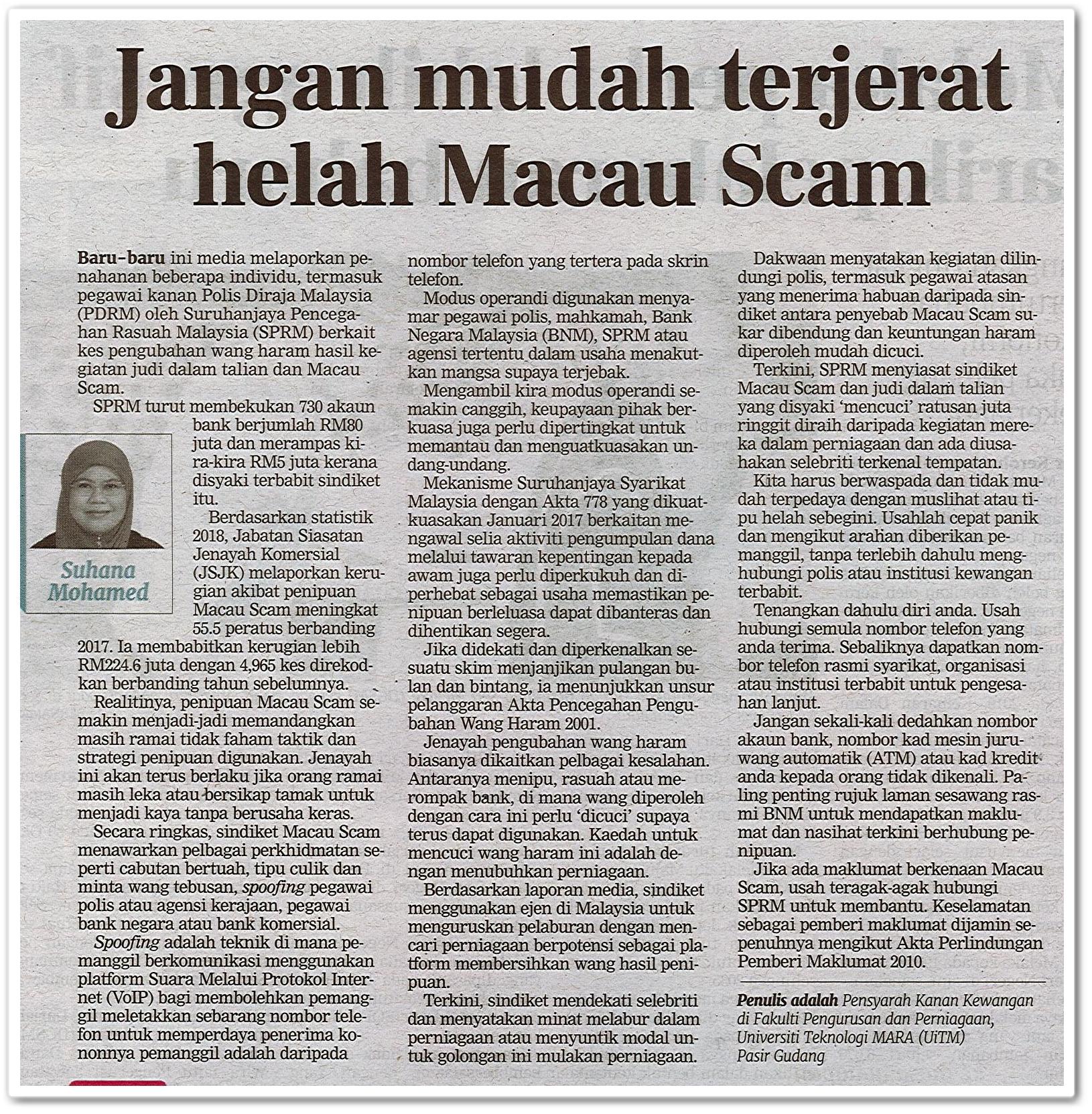 Jangan mudah terjerat helah Macau Scam - Keratan akhbar Berita Harian 11 Oktober 2020