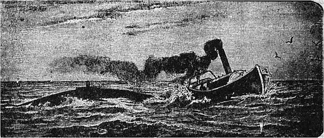 Οι Εμμανουήλ και Αντώνιος Γρυπάρης μπήκαν στο σκάφος τους και μια ατμοκίνητη λέμβος τους ρυμούλκησε στο μέρος όπου θα γινόταν η κατάδυση