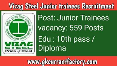 Vizag Steel Junior trainees Recruitment