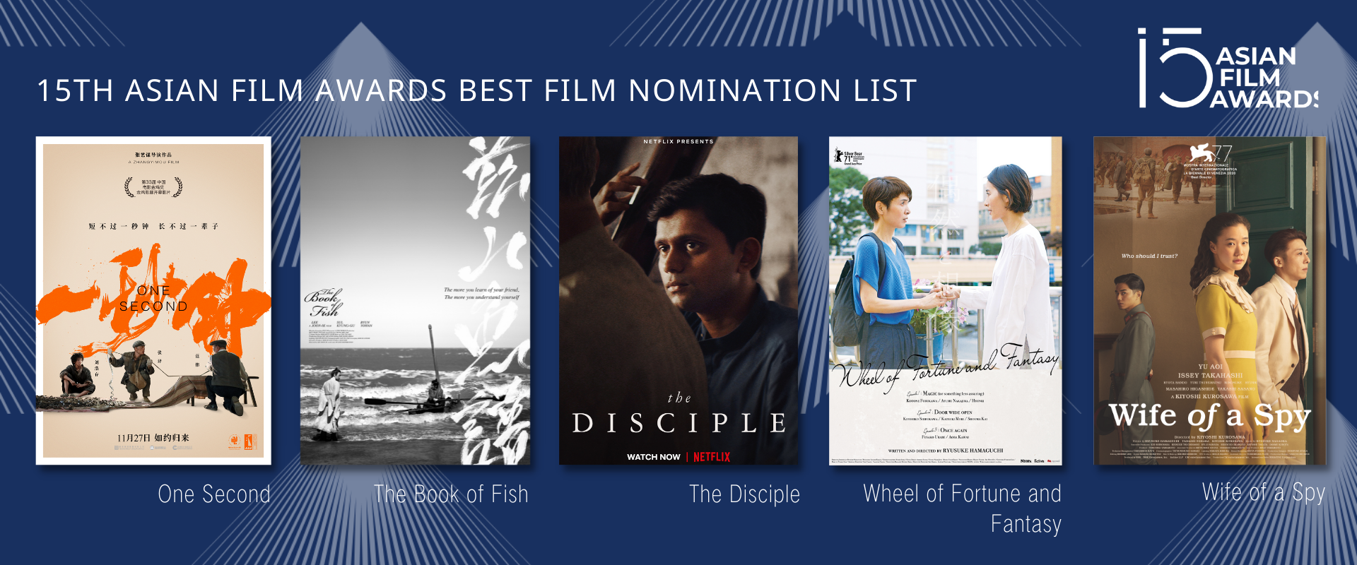 15 Asian Film Awards - Nominados del cine japonés