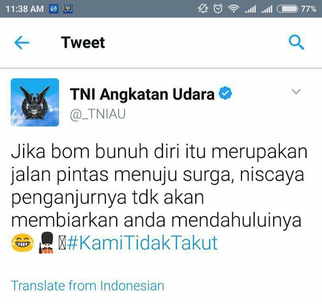 Bom bunuh diri jalan pintas menuju surga? (tweet TNI AU)