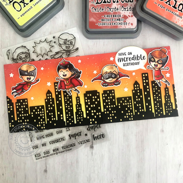 Sunny Studio Stamps: Super Duper Cityscape Border Dies Birthday Card by Tammy Stark