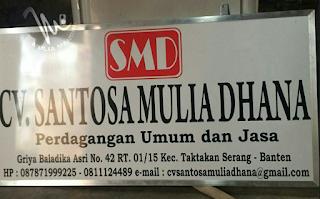 Plang Nama Cv. Santosa Mulia Dhana Serang Banten