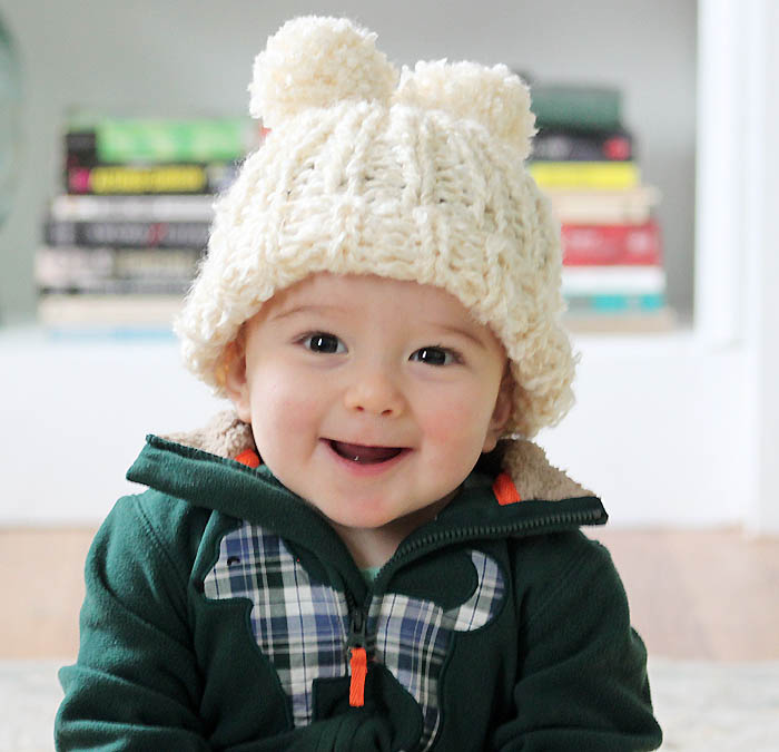 Lion Brand Homespun Baby Snow Angel Hat Knitting Pattern