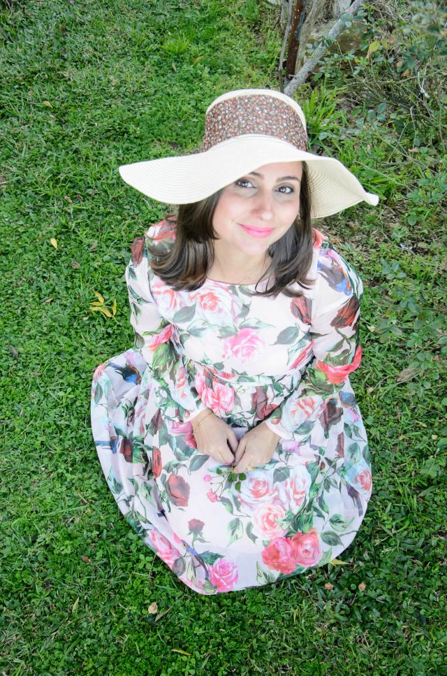 Vestido floral rosa da Romwe