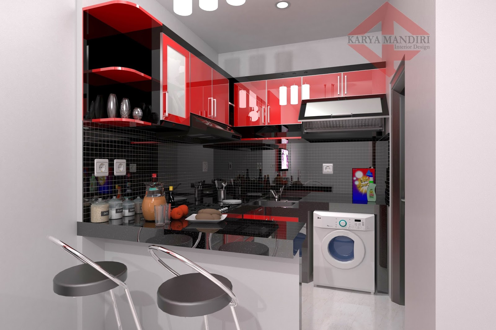 Kitchen set l solid glossy hpl meja bar beton