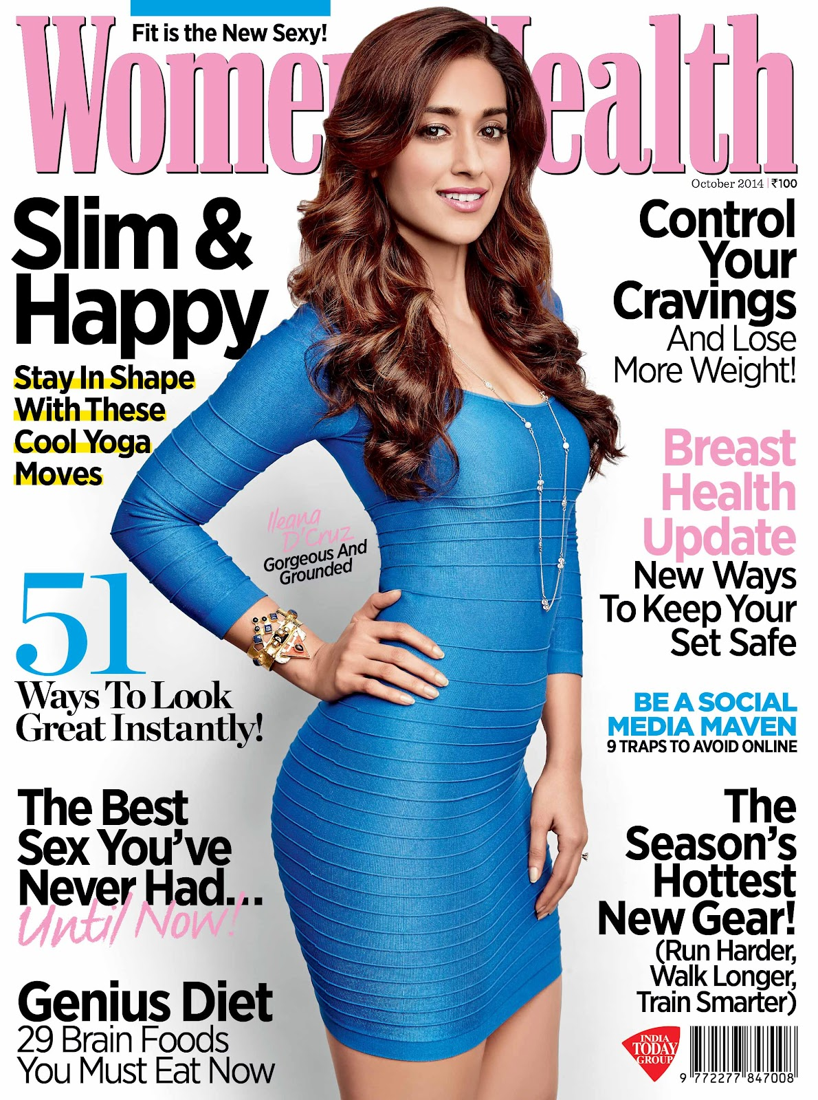 Ileana D'Cruz Flaunting her Curves in tight-fitted blue mini-dress on Womens Health Magazine 2014 Cover