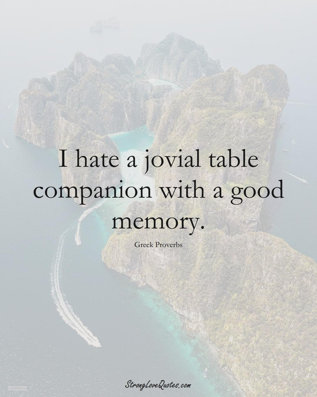 I hate a jovial table companion with a good memory. (Greek Sayings);  #EuropeanSayings