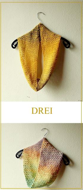 """Crochet cowl pattern """"Drei"""""""