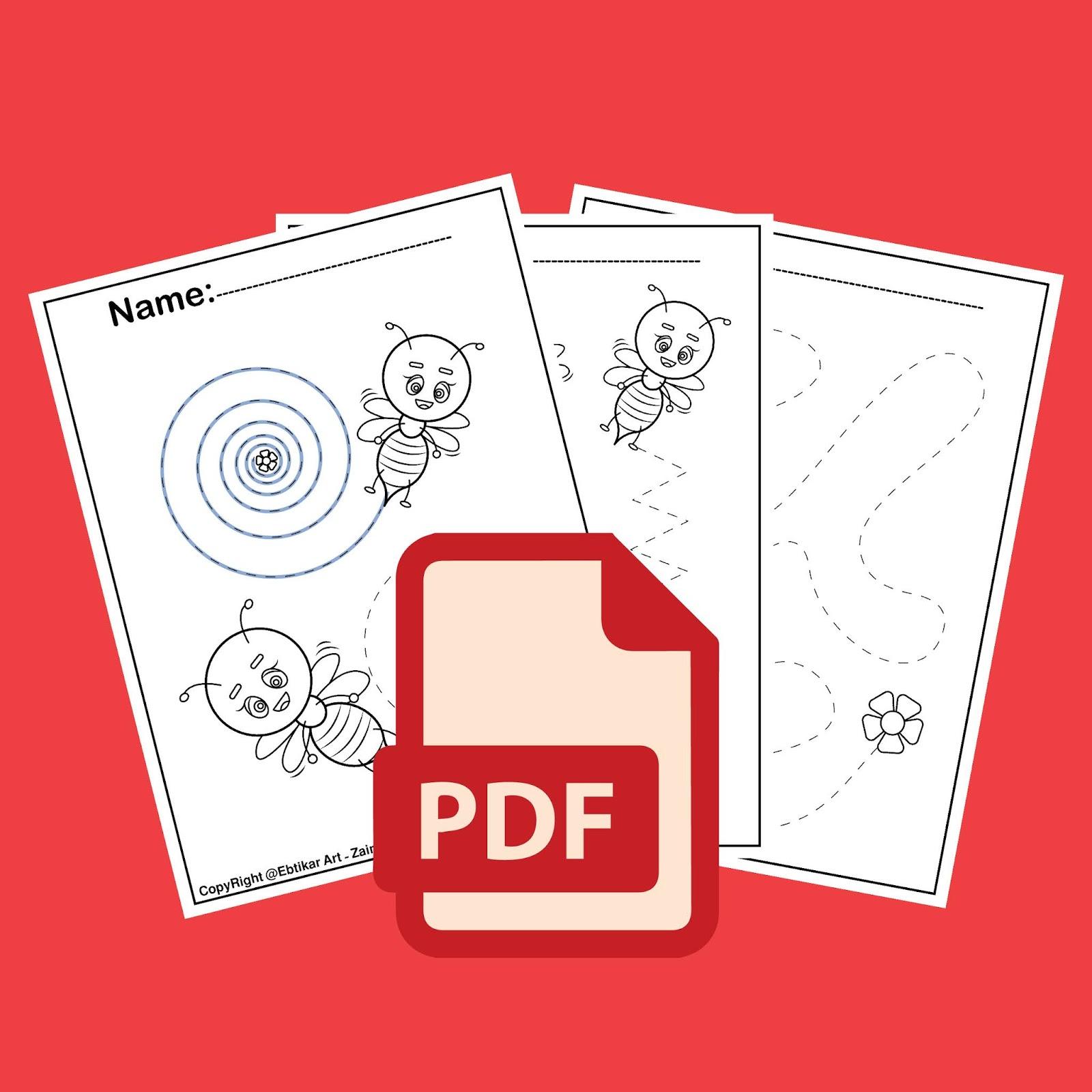 Fine Motor Bee Activities Tracing Coloring Book Free