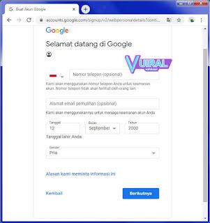 Cara Membuat Akun Google Baru Di Laptop/Komputer (PC) Tanpa Nomor HP (SIM Card) 3