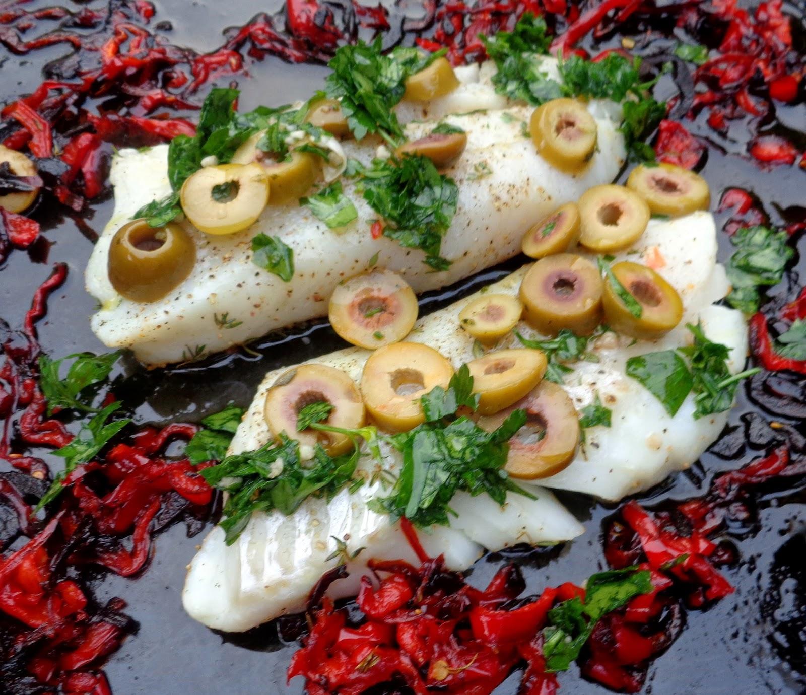 kabeljauw met paprika uit de oven