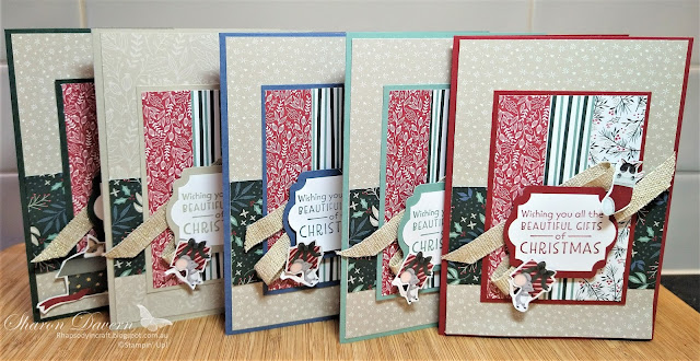 Rhapsody in craft, #rhapsodyincraft,#heartofchristmas2021,Christmas, Christmas cards, Inspired Thoughts, Tidings of Christmas DSP, Label Me Lovely Punch, Everyday Label Punch, Sweet Stocking DSP, Fine Art Ribbon, Stampin' Up!, Annual Catalogue 2021