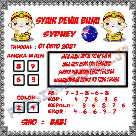 Syair Dewa Bumi Sidney Hari Ini 01-10-2021