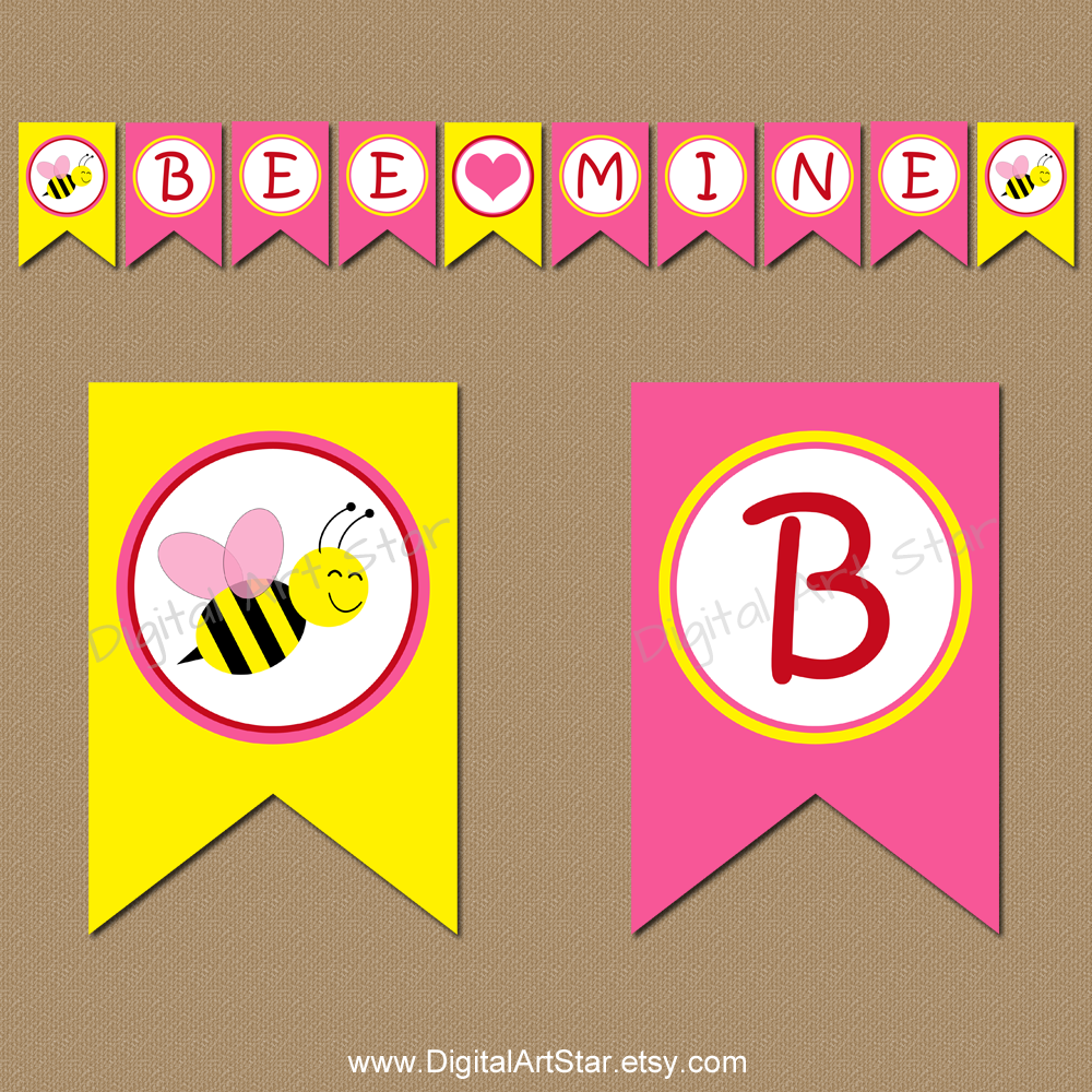 Cute bumble bee Valentines Day banner for kids that spells out Bee Mine