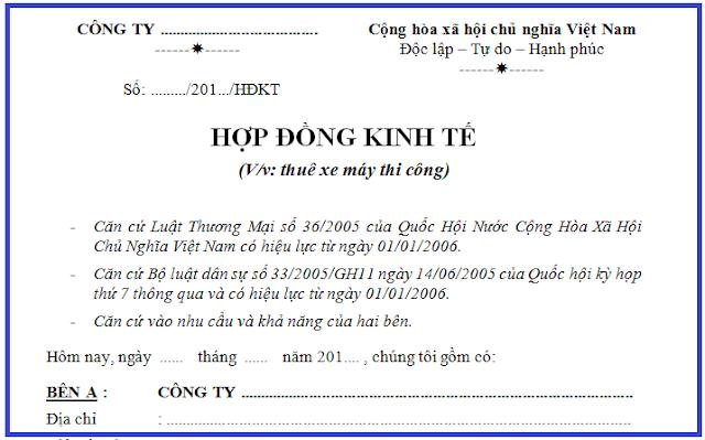 Mẫu Hợp đồng thuê xe máy thi công (xe cuốc) file word