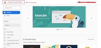 Tampilan Chrome Web Store