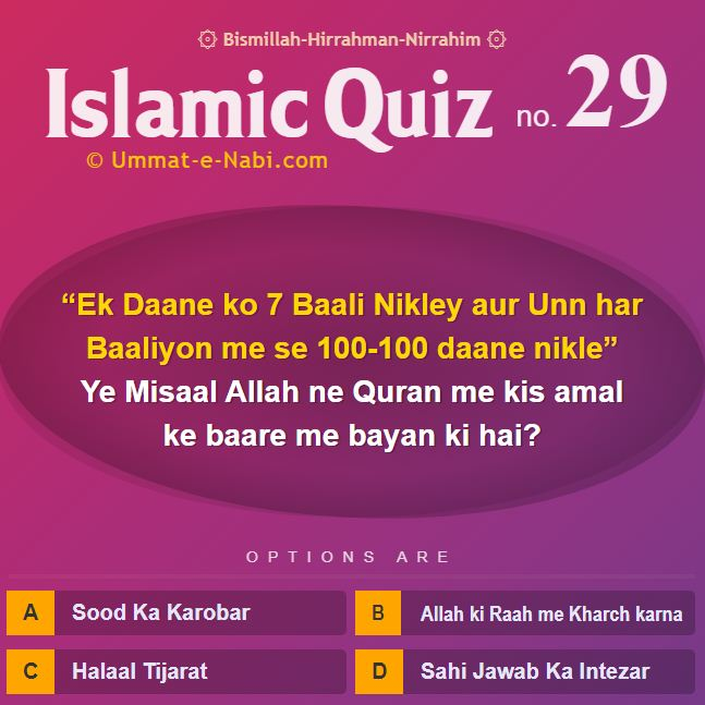 Islamic Quiz 29 : Yeh Misaal Allah ne Quran me kin Logon ke Talluk se bayan ki hai?
