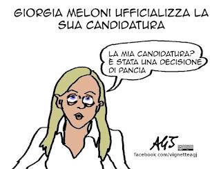 meloni, candidature, roma, vignetta, satira