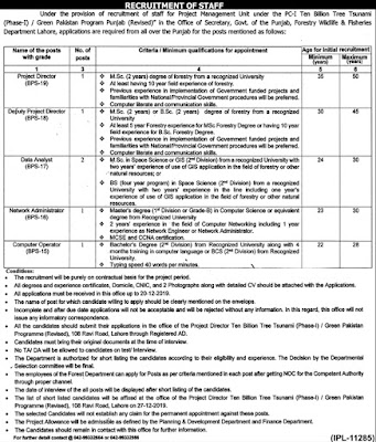 Latest Jobs in Forestry Wildlife & Fisheries Department Punjab Lahore 2019