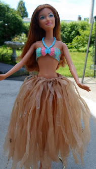 recycled plastic bag hula skirt for Barbie