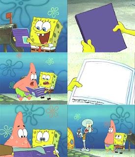 Polosan meme spongebob dan patrick 70 - spongebob dan patrick baca buku