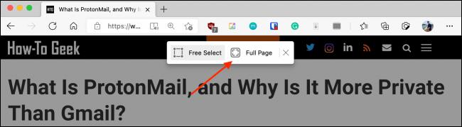 انقر فوق صفحة كاملة من Web Capture في Microsoft Edge