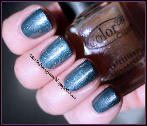Kiko: #517 Metallic Steel Blue  with Color Club: Pearl-Spective