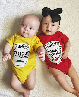 Dress your twins up as Ketchup and Mustard for Halloween