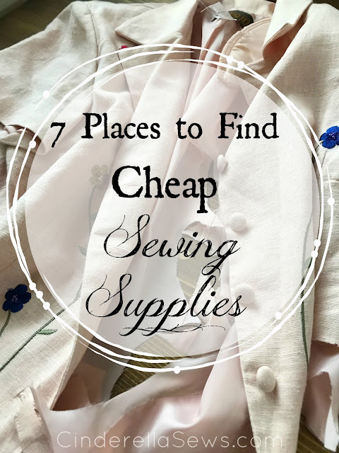 7 Places to Find Cheap Sewing Supplies - If you are afraid to start sewing, because you think it is an expensive hobby--think again! Many of these places to find fabric are also eco-friendly and offer more beautiful, textured options than your local conglomerate craft store! #sewing #fabric #beginnersewing #sewingsupplies #haberdashery