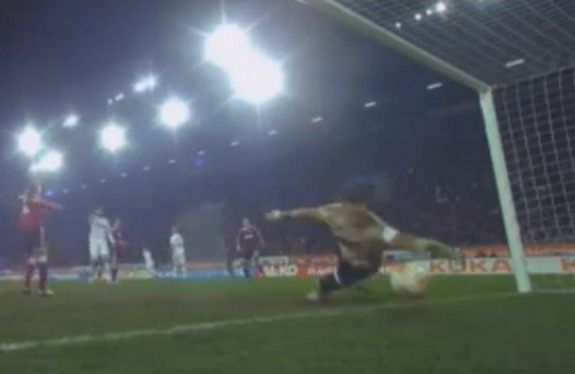 Nürnberg goalkeeper Raphael Schäfer spills the ball through his legs and into his own goal