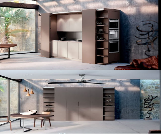 hidden kitchen designs for open living space