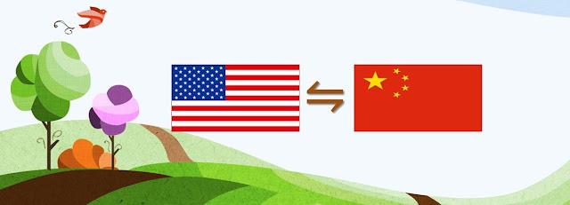米中の国旗で対立を表示