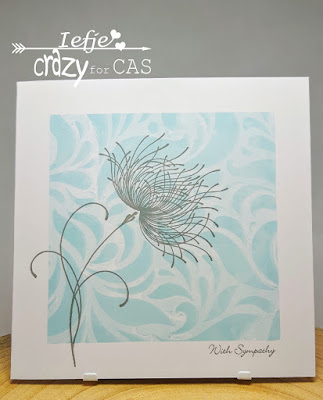 Handmade Sympathy card made with the gelli plate and a Penny Black stamp Dreamy