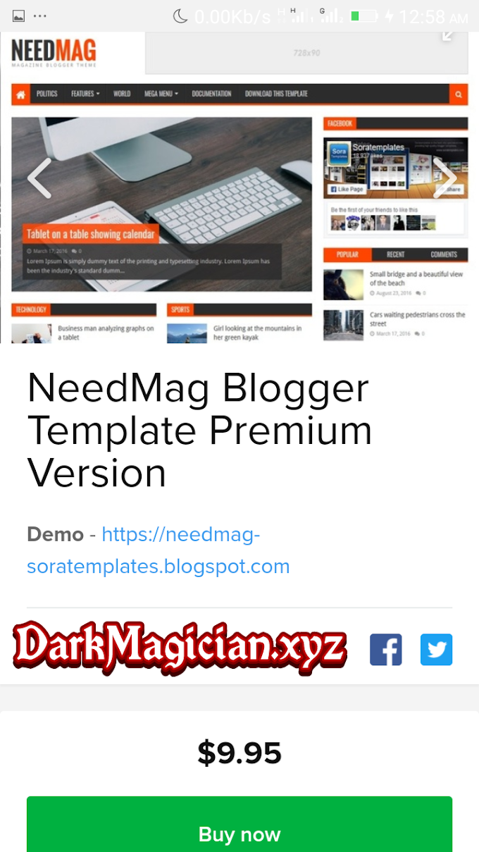 NeedMag Premium Blogger Templates  Review With Free Download Link